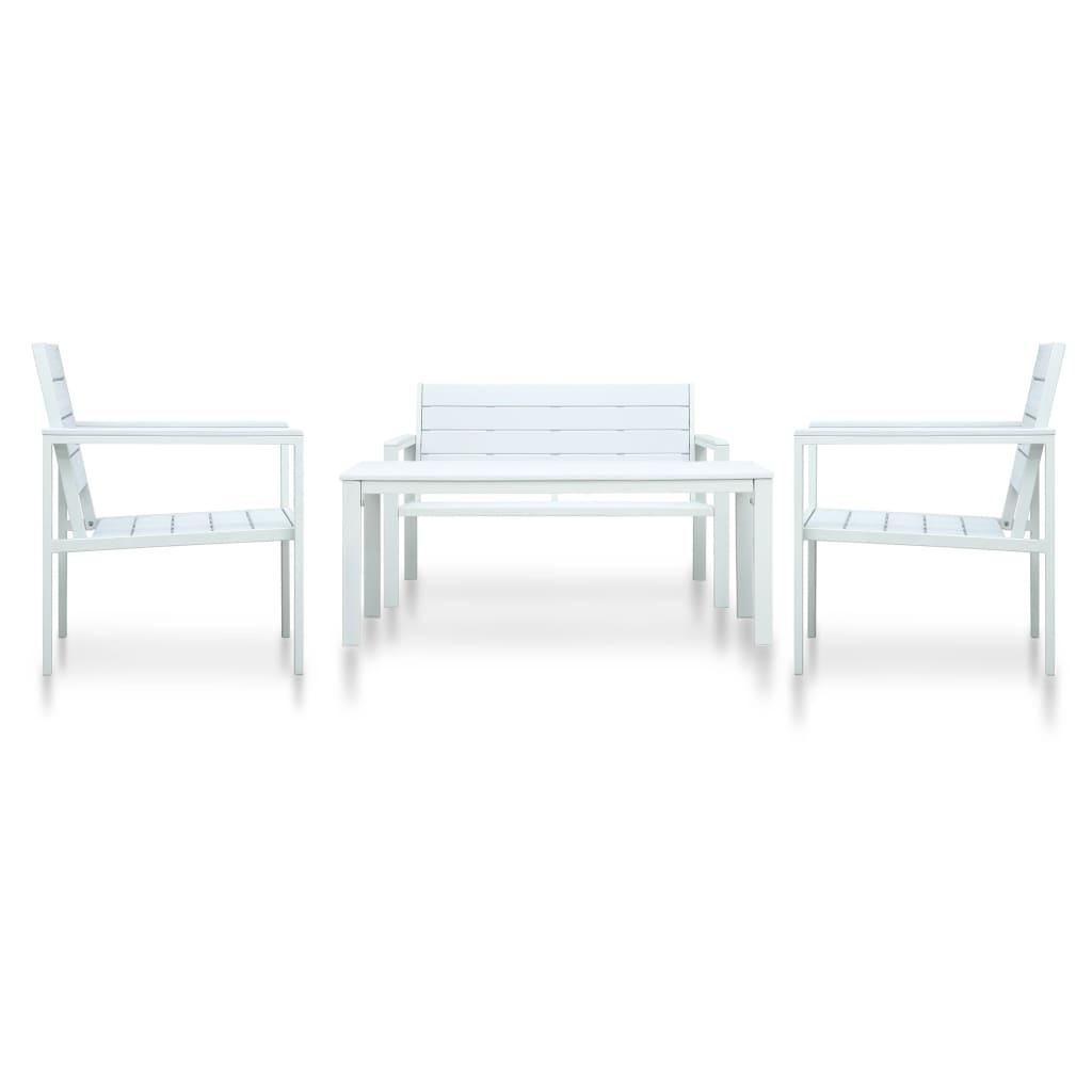 vidaXL 4-dielna záhradná sedacia súprava HDPE biela drevený vzhľad