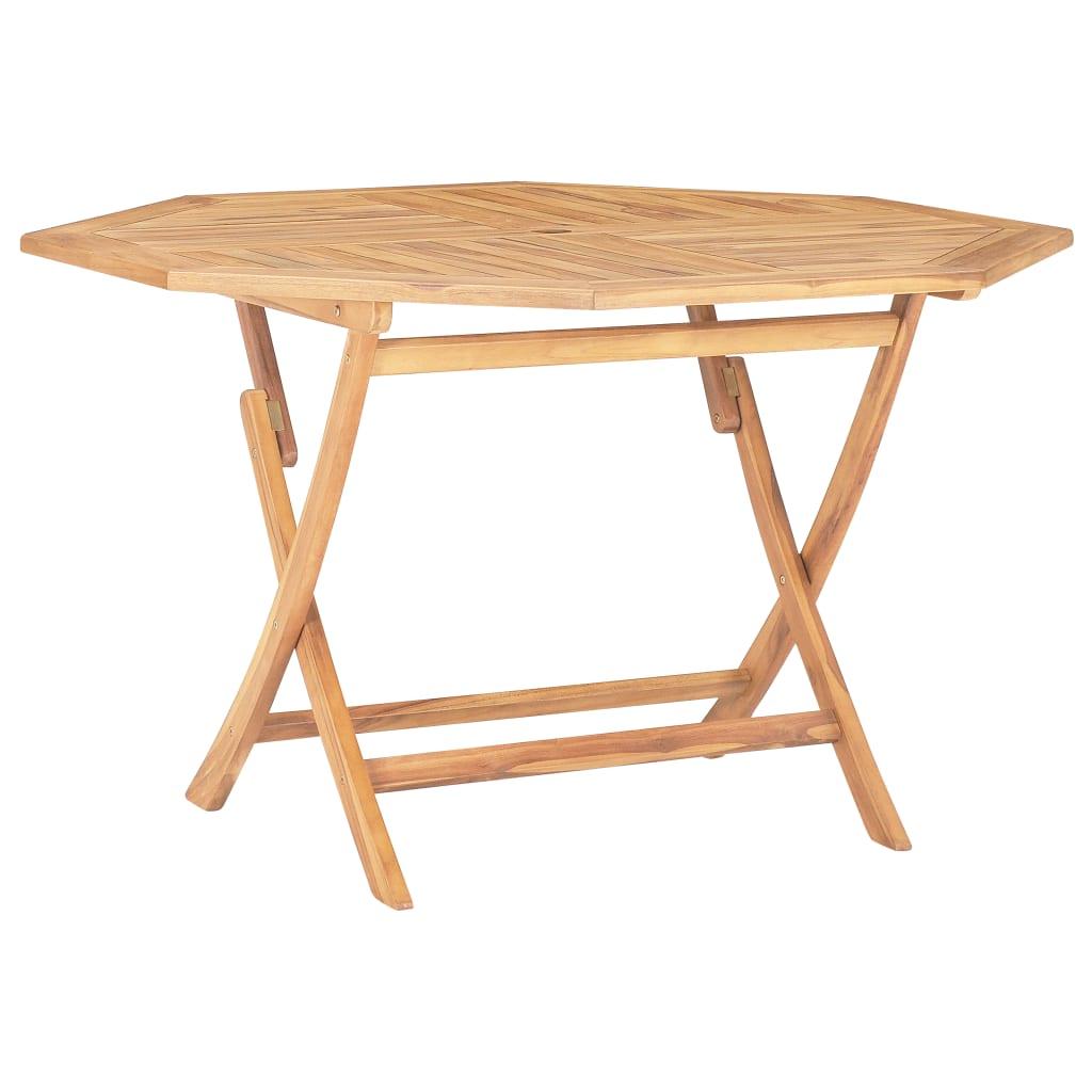 vidaXL Skladací záhradný stôl 120x120x75 cm, tíkový masív