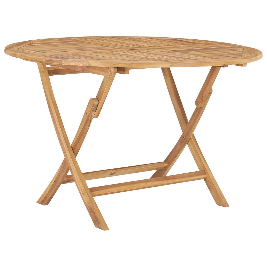 vidaXL Skladací záhradný stôl Ø 120 cm, tíkový masív