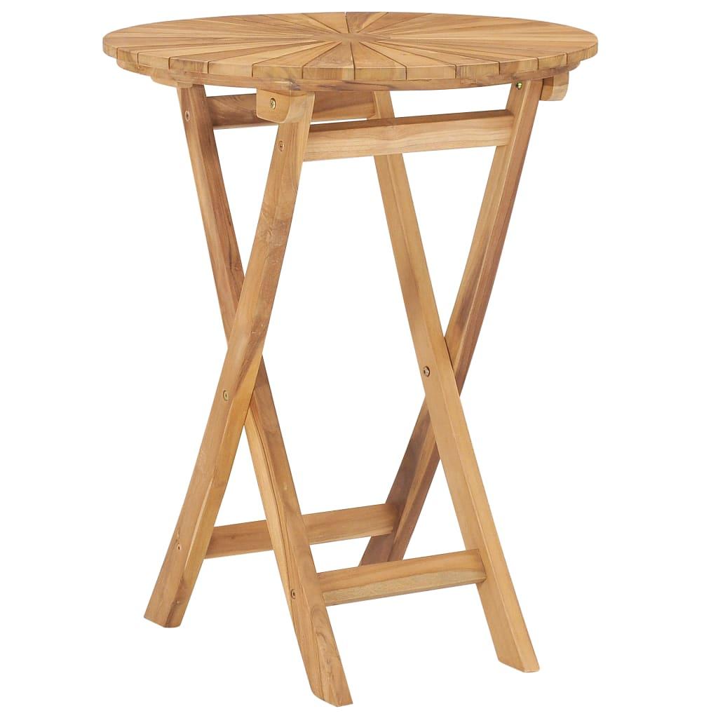 vidaXL Skladací záhradný stôl Ø 60 cm, tíkový masív