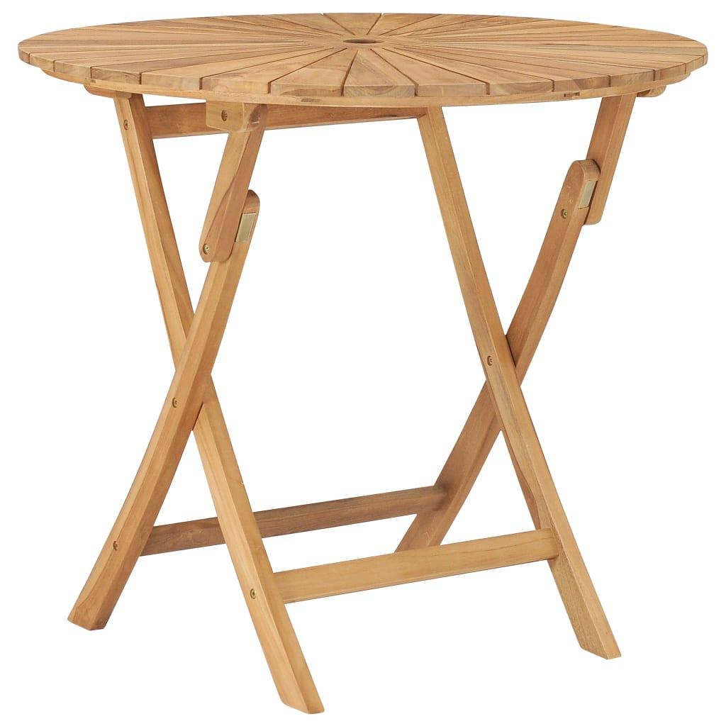 vidaXL Skladací záhradný stôl Ø 85 cm, tíkový masív