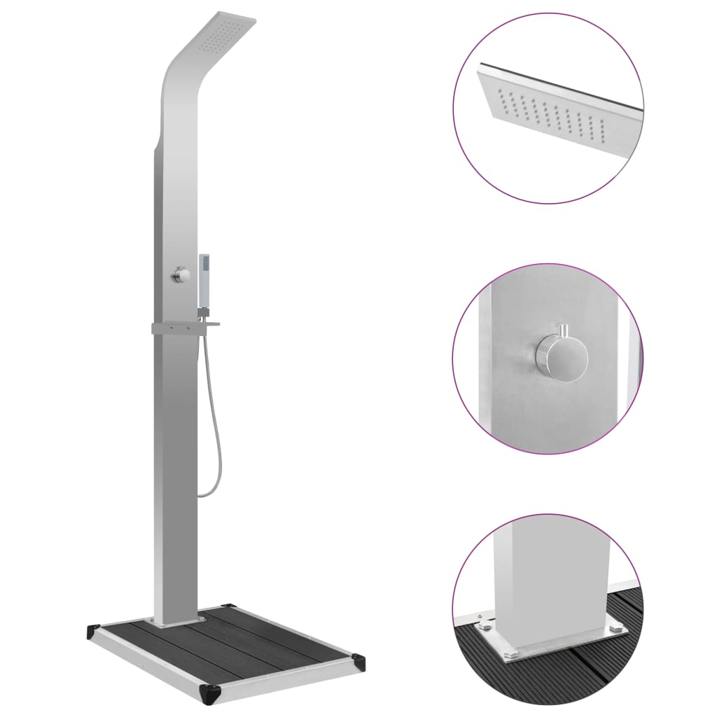 vidaXL Vonkajšia sprcha s vaničkou, WPC, nehrdzavejúca oceľ