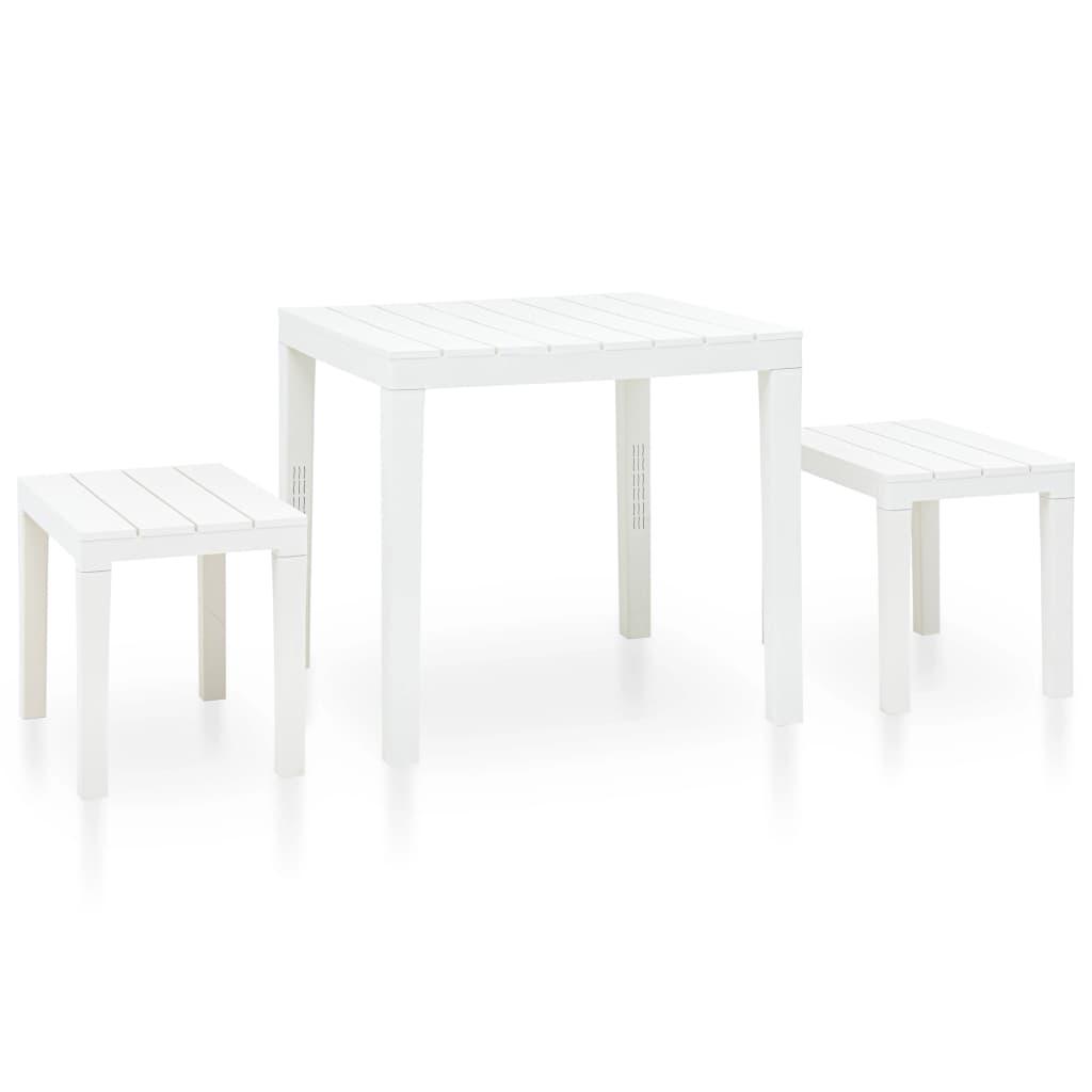 vidaXL Záhradný stôl s 2 lavičkami plastový biely