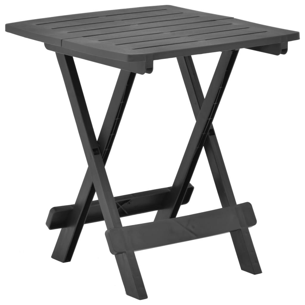 vidaXL Skladací záhradný stôl antracitový 45x43x50 cm plastový