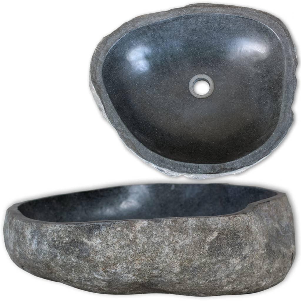 vidaXL Umývadlo, riečny kameň, oválne 38-45 cm