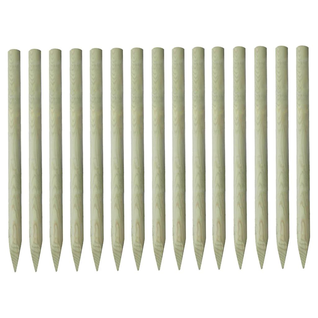 vidaXL Špicaté plotové stĺpiky 15 ks 4x170cm impregnované borovicové drevo