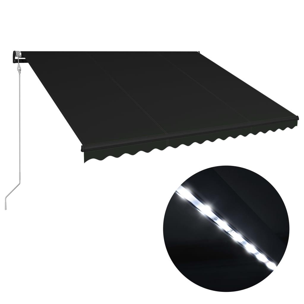vidaXL Zaťahovacia markíza so senzorom vetra a LED 400x300 cm antracitová
