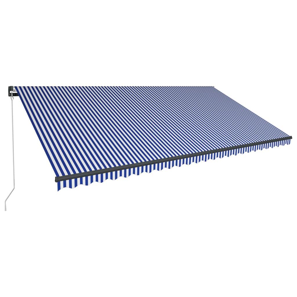 vidaXL Ručne zaťahovacia markíza 600x300 cm modrá a biela