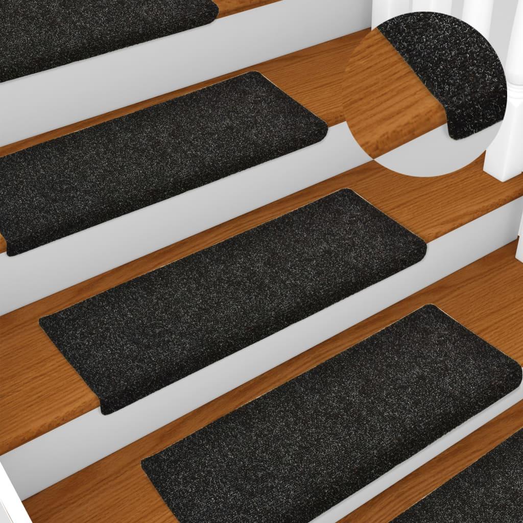 vidaXL Nášľapy na schody 15 ks, vpichované 65x25 cm, čierne