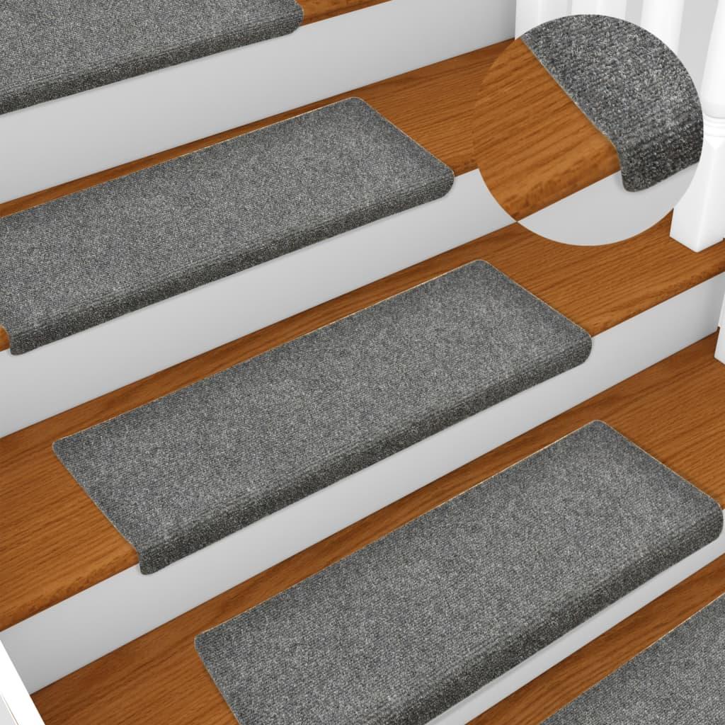 vidaXL Nášľapy na schody 15 ks, vpichované 65x25 cm, svetlosivé