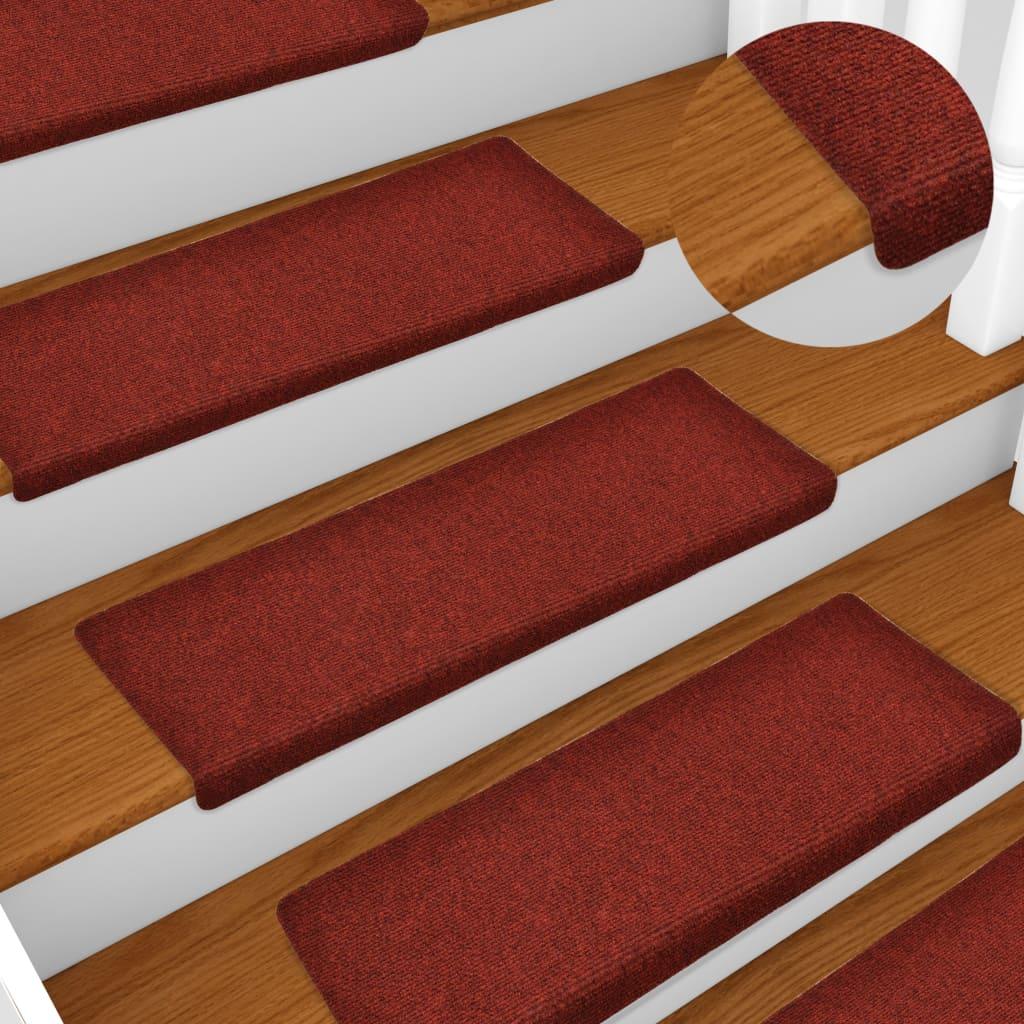 vidaXL Nášľapy na schody 15 ks, vpichované 65x25 cm, červené