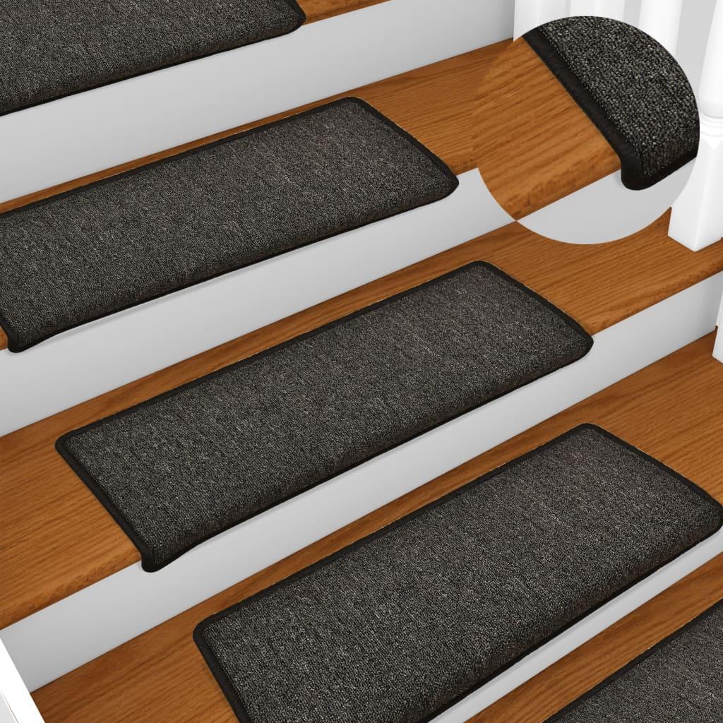 vidaXL Kobercové nášľapy na schody 15 ks, 65x25 cm, antracitové