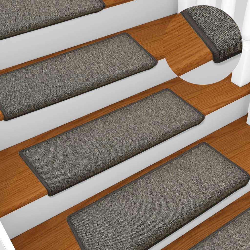 vidaXL Kobercové nášľapy na schody 15 ks, 65x25 cm, tmavosivé