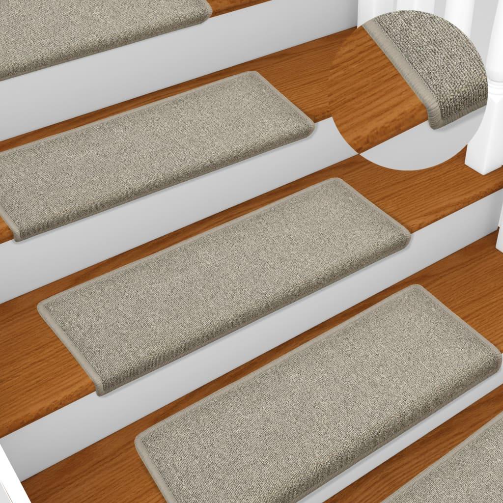 vidaXL Kobercové nášľapy na schody 15 ks, 65x25 cm, svetlosivé