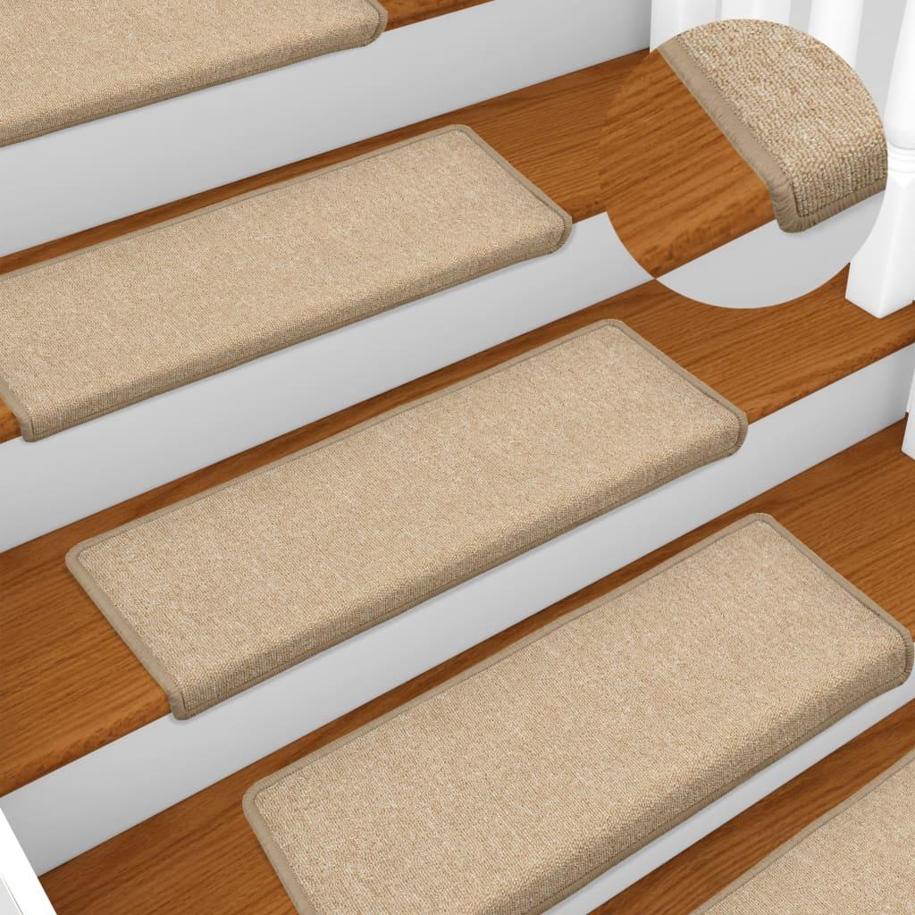 vidaXL Kobercové nášľapy na schody 15 ks, 65x25 cm, sivohnedé