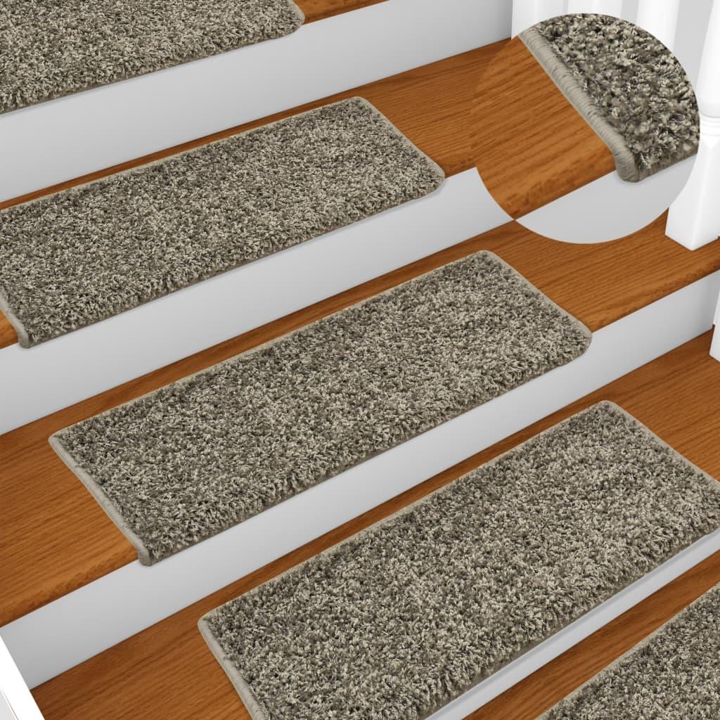 vidaXL Kobercové nášľapy na schody 15 ks, 65x25 cm, sivé