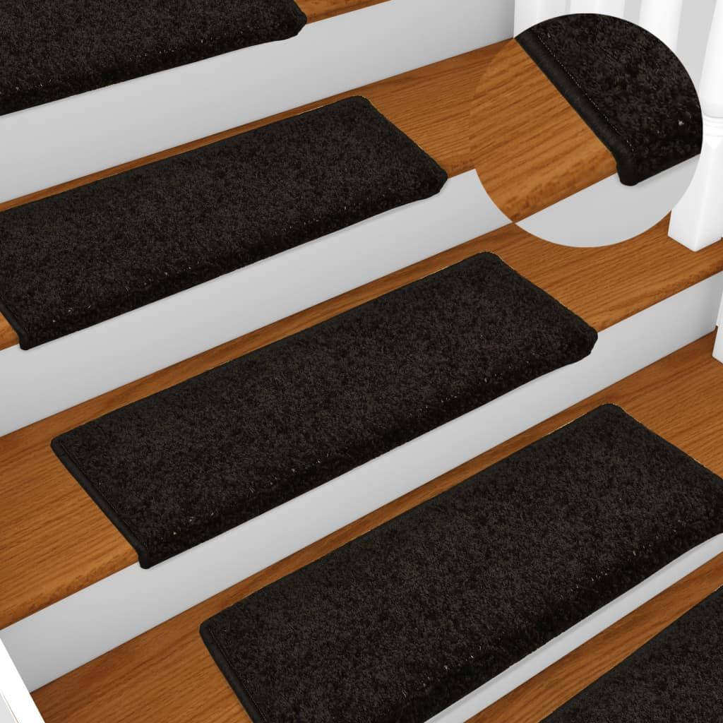 vidaXL Kobercové nášľapy na schody 15 ks, 65x25 cm, čierne