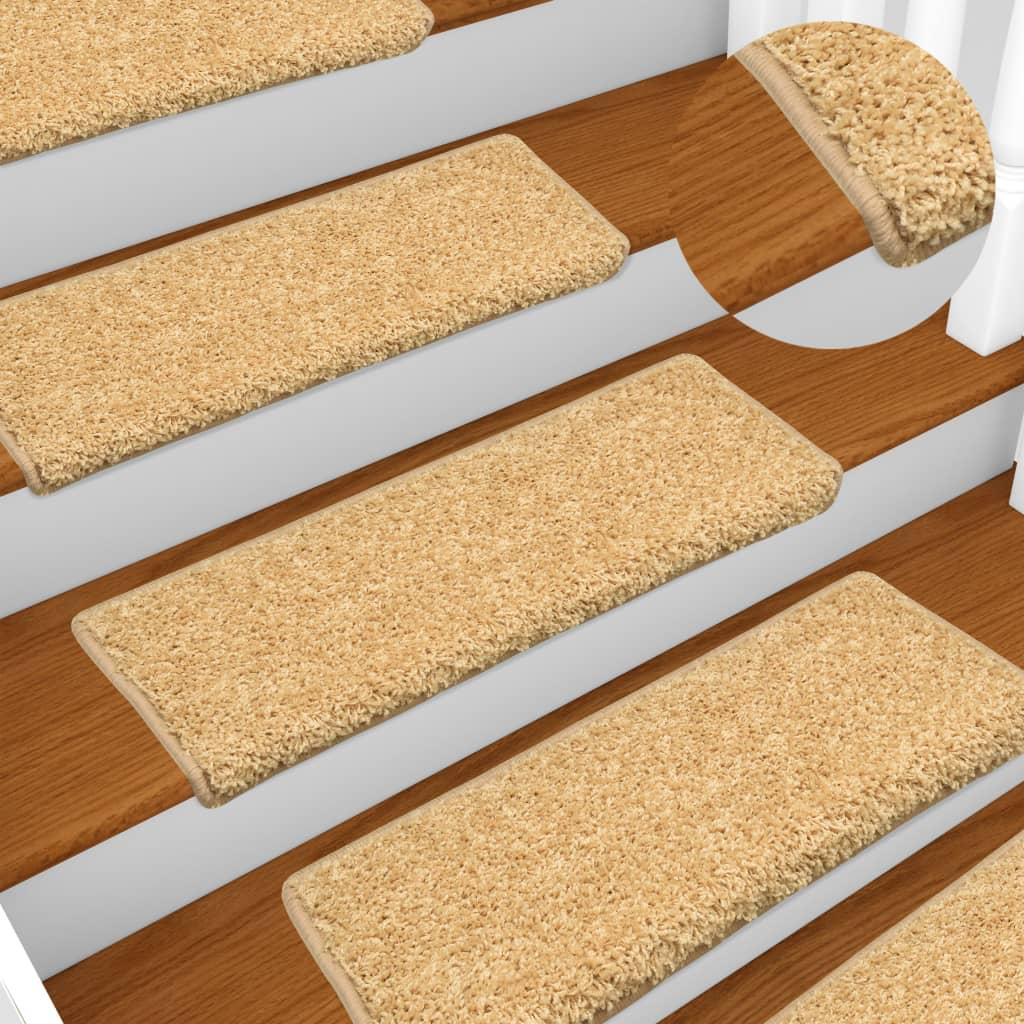 vidaXL Kobercové nášľapy na schody 15 ks, 65x25 cm, béžové