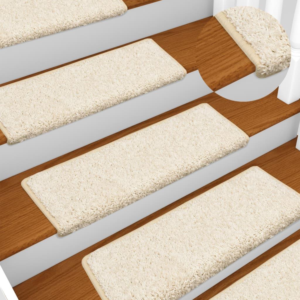 vidaXL Kobercové nášľapy na schody 15 ks, 65x25 cm, biele