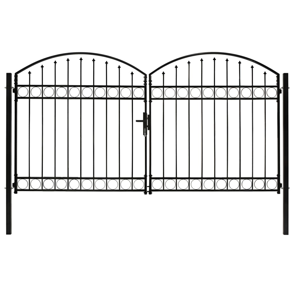 vidaXL Dvojkrídlová plotová brána s oblúkom, oceľ 300x175 cm, čierna