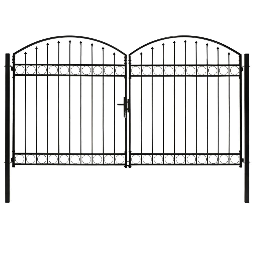 vidaXL Dvojkrídlová plotová brána s oblúkom, oceľ 300x200 cm, čierna