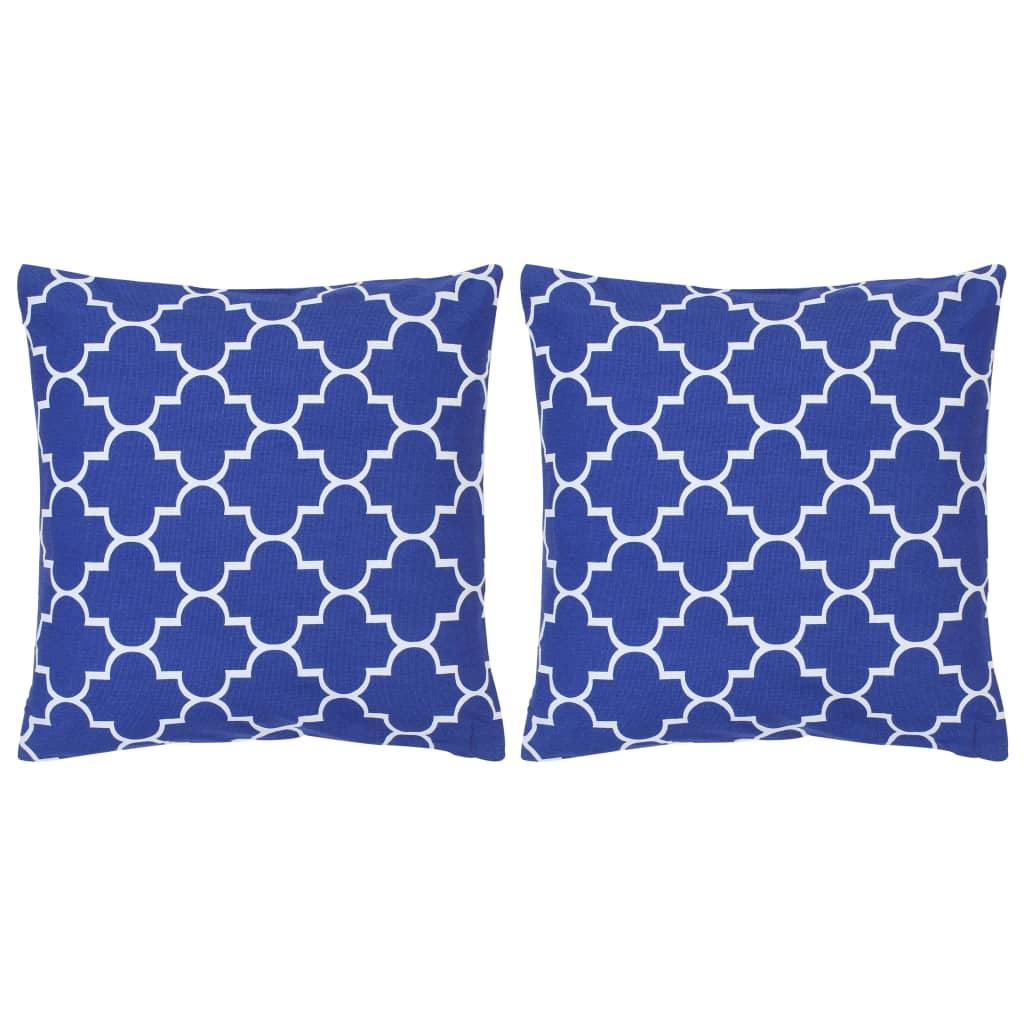 vidaXL Vankúše 2 ks modré 40x40 cm bavlna s potlačou