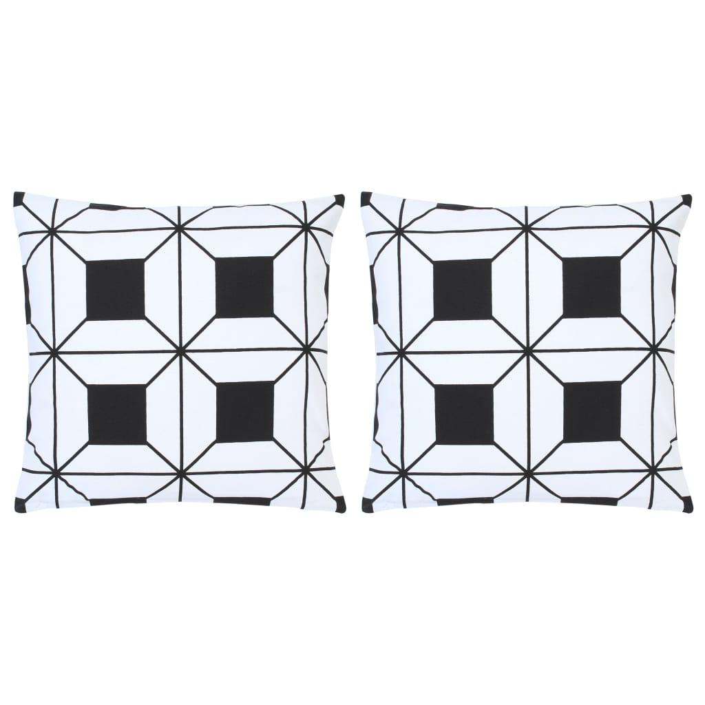 vidaXL Vankúše 2 ks čierno-biele 40x40 cm bavlna s potlačou