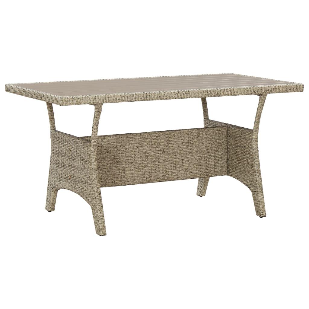 vidaXL Záhradný stôl sivý 130x70x66 cm polyratanový