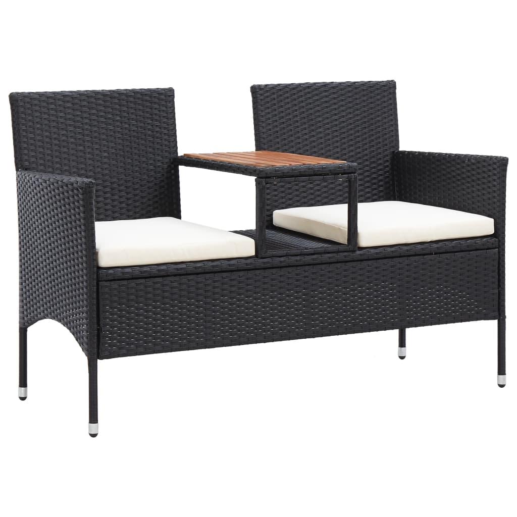 vidaXL 2-miestna záhradná lavica s čajovým stolíkom 143 cm polyratan čierna