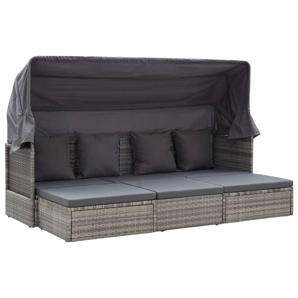 vidaXL Záhradná posteľ+strieška, odtiene sivej 200x60x124cm, polyratan