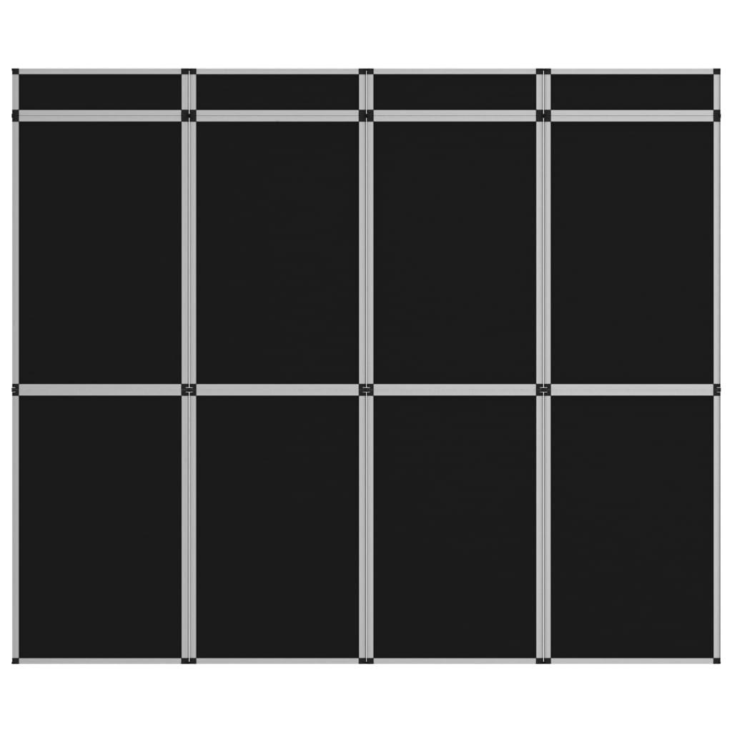 vidaXL 8-panelová skladacia výstavná stena čierna