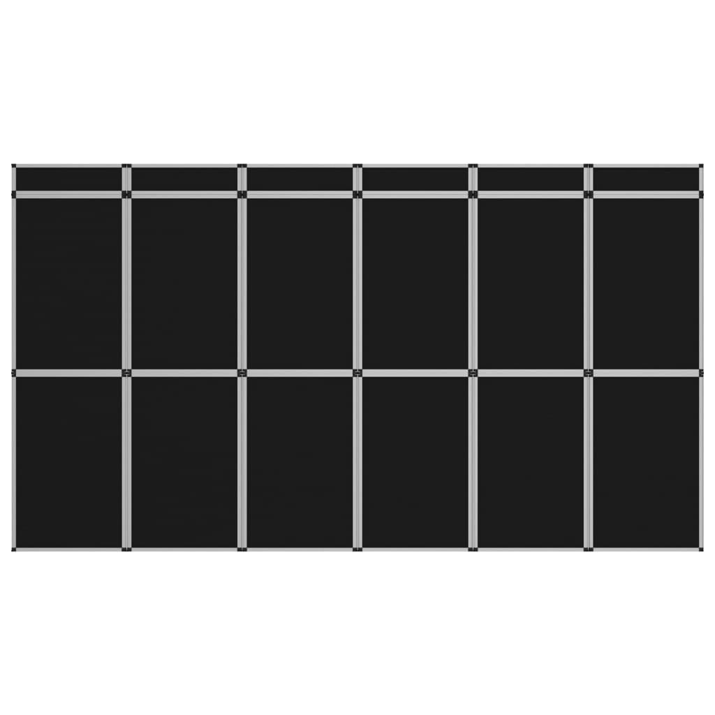 vidaXL 12-panelová skladacia výstavná stena čierna