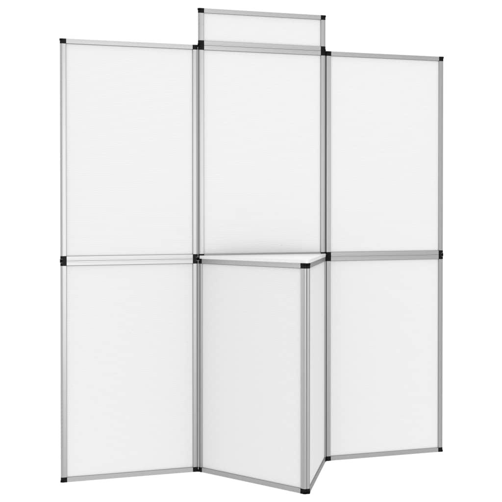 vidaXL 8-panelová skladacia výstavná stena so stolom 181x200 cm biela