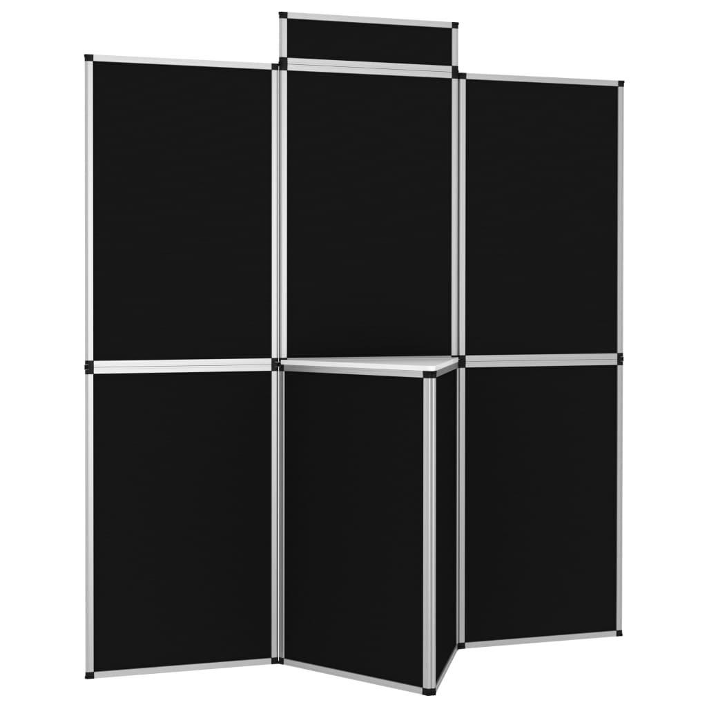 vidaXL 8-panelová skladacia výstavná stena so stolom 181x200 cm čierna