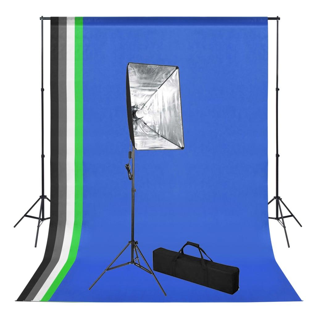 vidaXL Sada do fotoštúdia s pozadím a softbox osvetlením