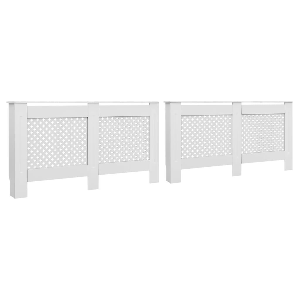 vidaXL Kryty na radiátor 2 ks, biele 152x19x81,5 cm, MDF
