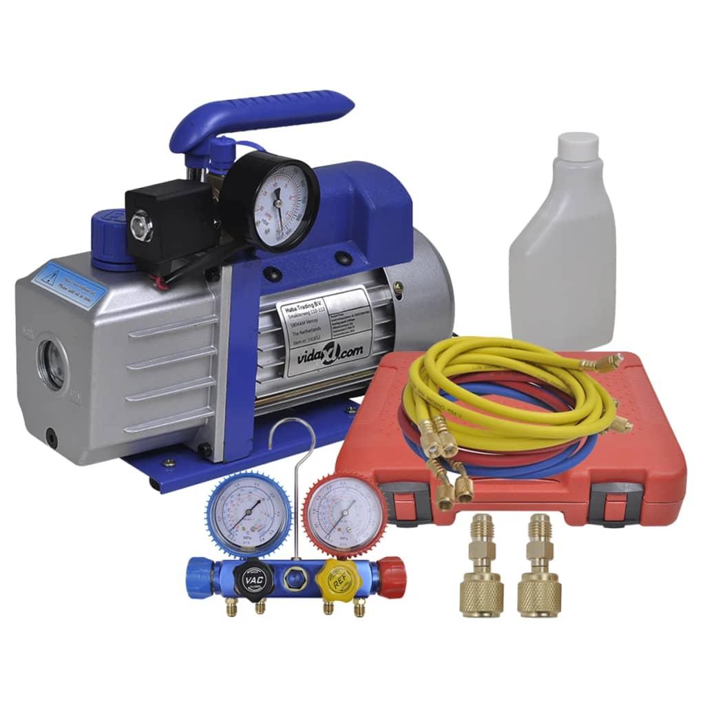 vidaXL Sada jednostupňového vákuového čerpadla s 4-cestným potrubným meradlom