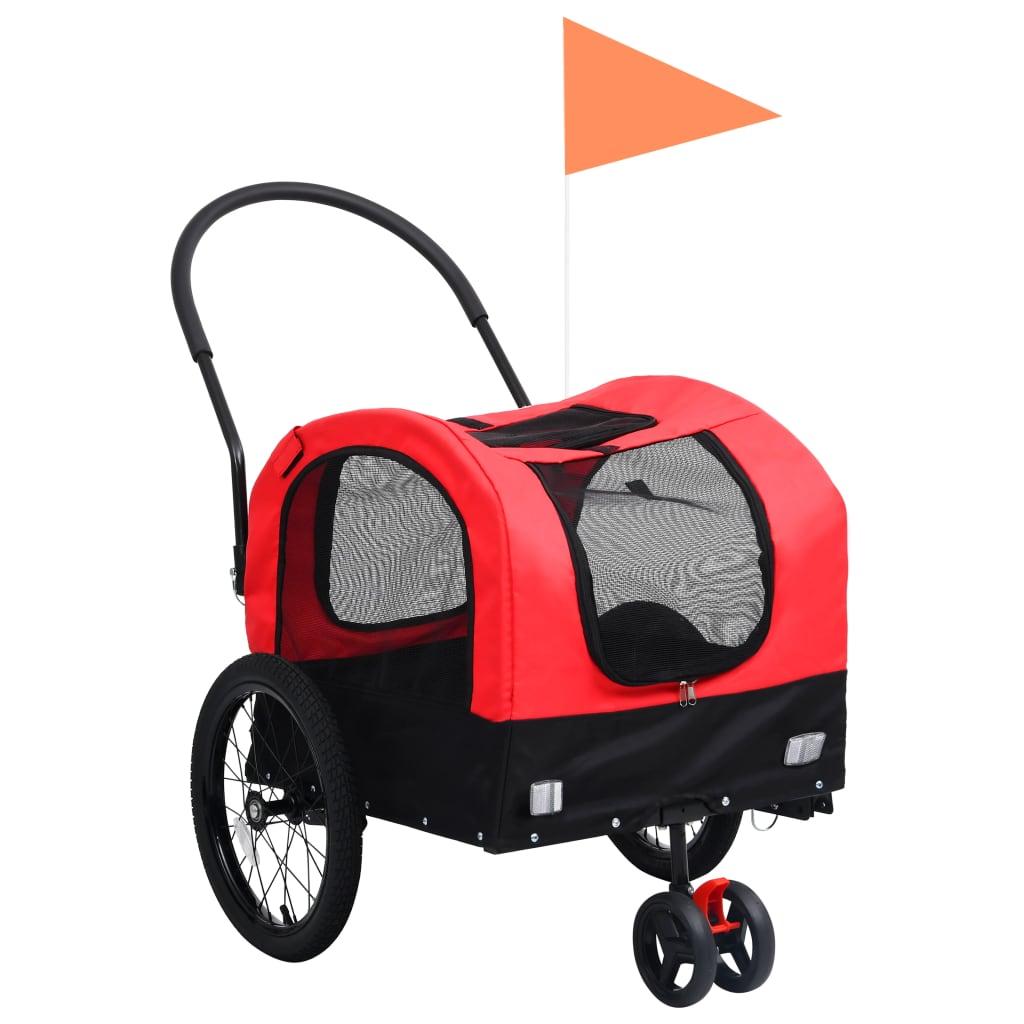 vidaXL Príves pre domáce zvieratá na bicykel/beh 2-v-1 červeno-čierny