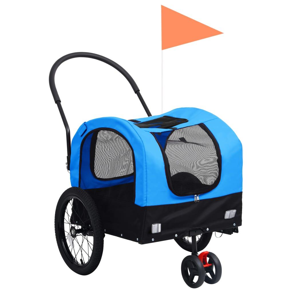 vidaXL Príves pre domáce zvieratá na bicykel/beh 2-v-1 modro-čierny