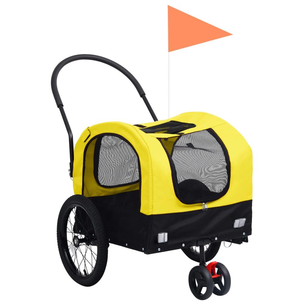 vidaXL Príves pre domáce zvieratá na bicykel/beh 2-v-1 žlto-čierny