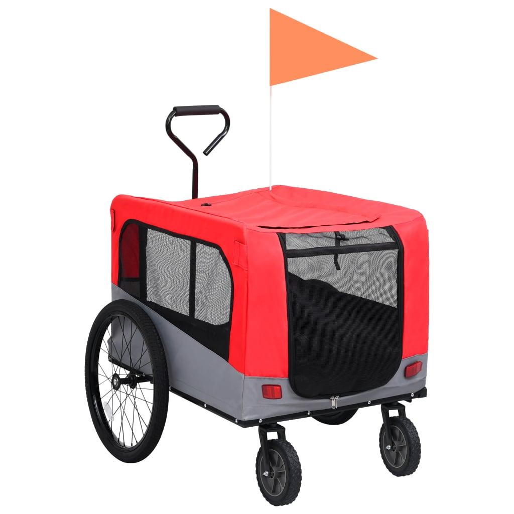 vidaXL Príves pre domáce zvieratá na bicykel/beh 2-v-1 červeno-sivý