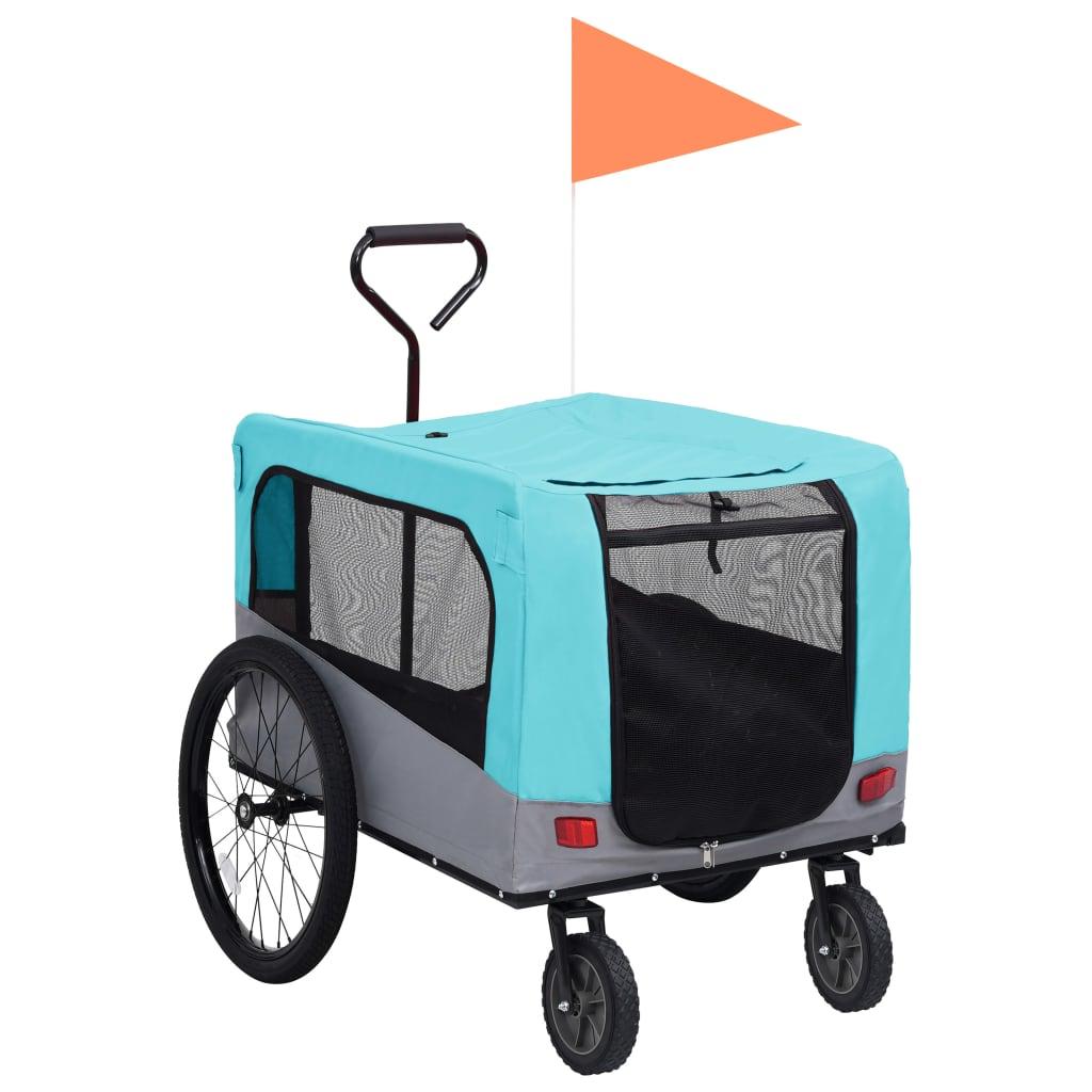 vidaXL Príves pre domáce zvieratá na bicykel/beh 2-v-1 modro-sivý