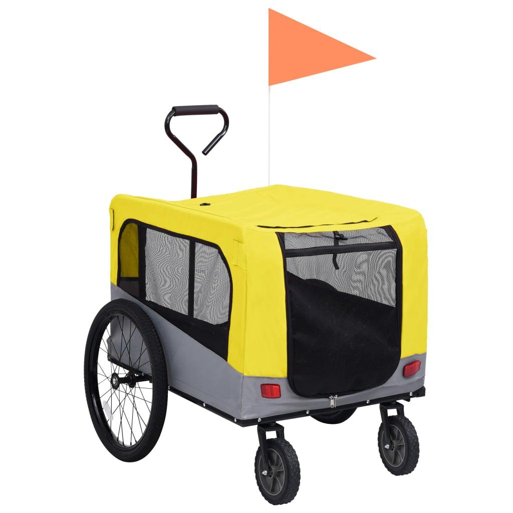 vidaXL Príves pre domáce zvieratá na bicykel/beh 2-v-1 žlto-sivý