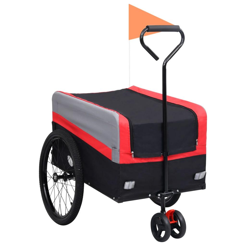 vidaXL Príves za bicykel a ručný vozík XXL 2-v-1 červeno-sivý a čierny