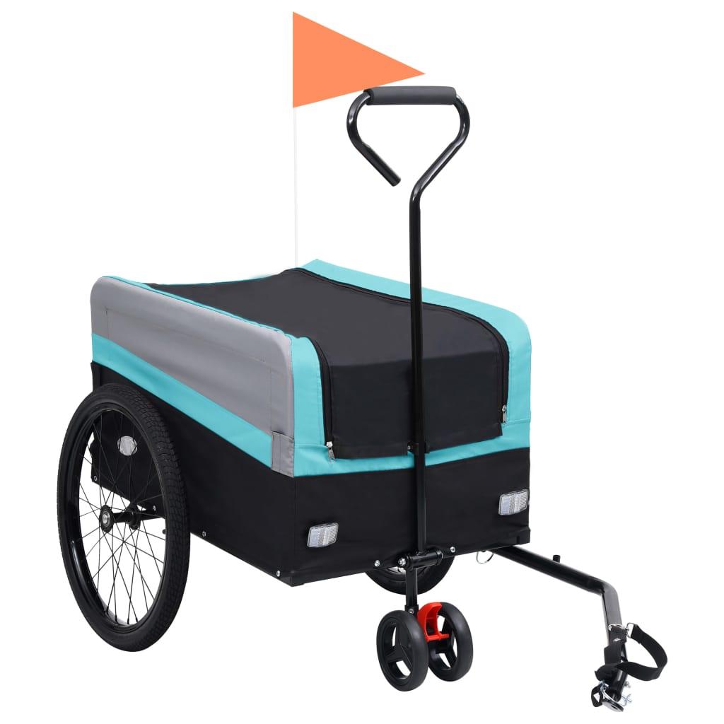 vidaXL Príves za bicykel a ručný vozík XXL 2-v-1 modrý-sivý a čierny