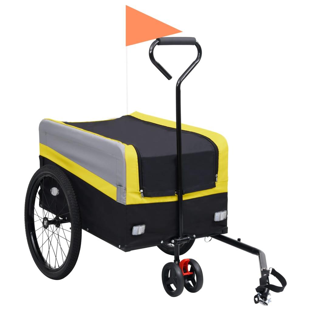 vidaXL Príves za bicykel a ručný vozík XXL 2-v-1 žlto-sivý a čierny