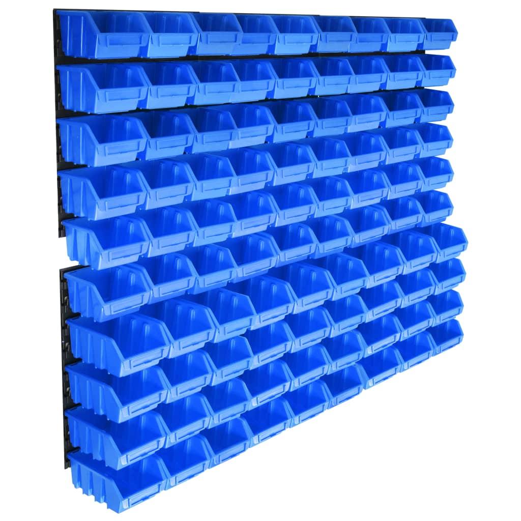 vidaXL Úložná sada s 96 košmi a nástennými panelmi modrá