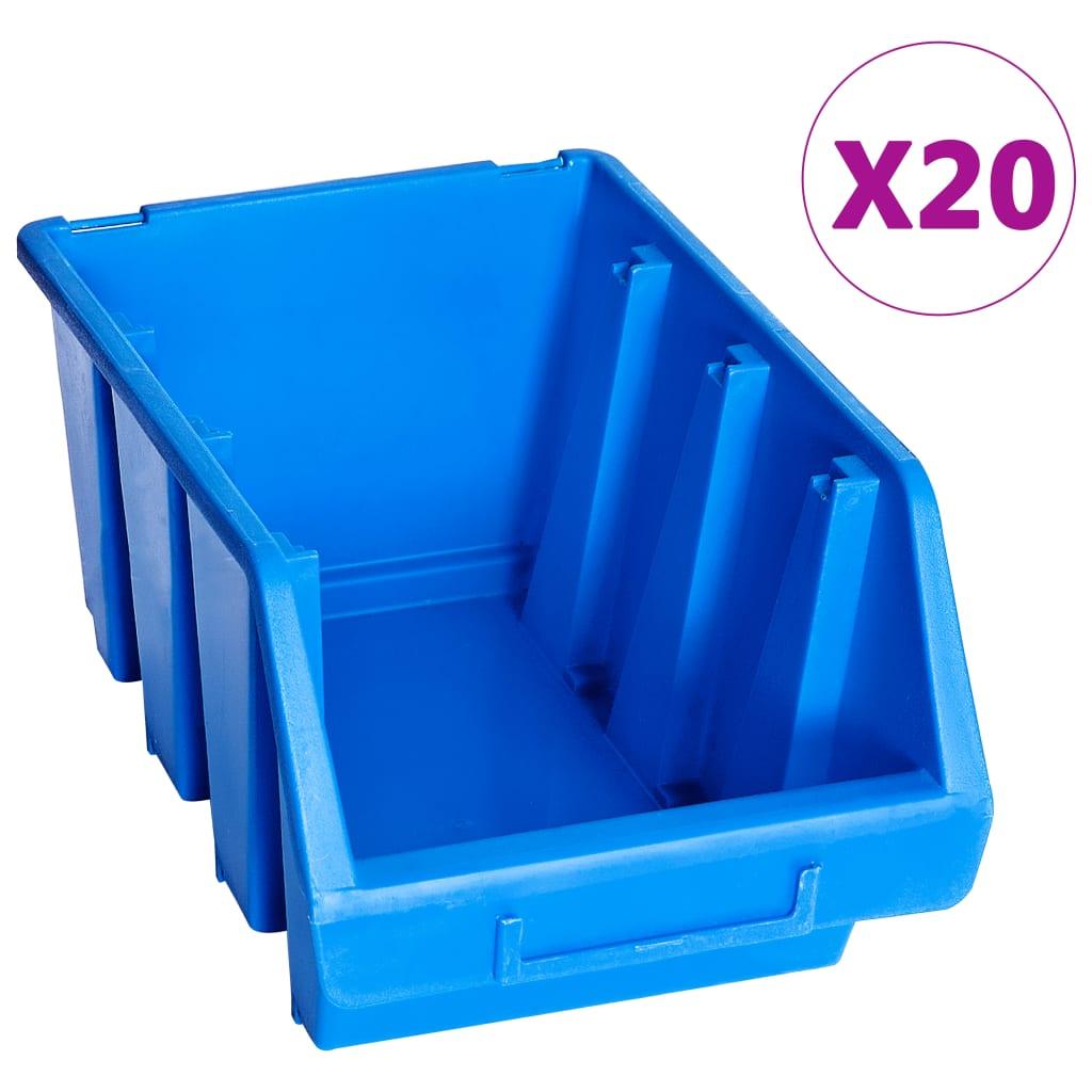 vidaXL Stohovacie úložné nádoby 20 ks modré plastové