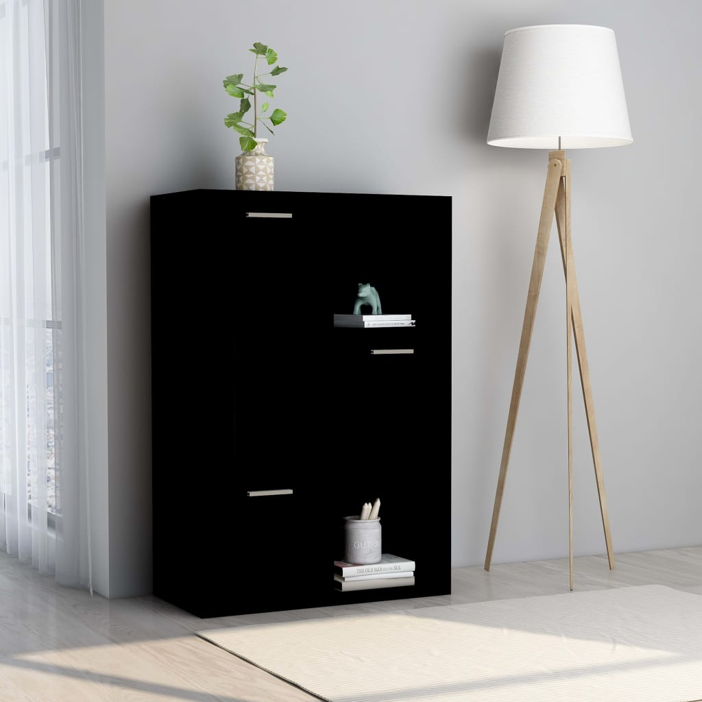 vidaXL Úložná skrinka čierna 60x29,5x90 cm drevotrieska