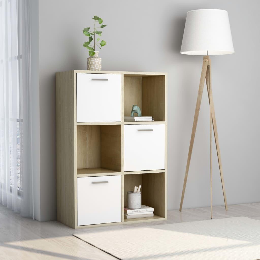 vidaXL Úložná skrinka biela a farba dubu sonoma 60x29,5x90 cm drevotrieska